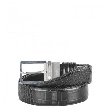 Ремень Piquadro Пиквадро C31 мужской 2х-стор. крокодил гладкий Черный цвет. Артикул CU2620C31/N (127х3,5)см