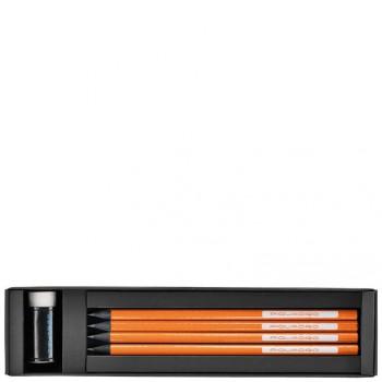 Коробка Piquadro STATIONERY/Orange с 4 графит. карандашами HB + ластик + линейка WR2386P3_AR